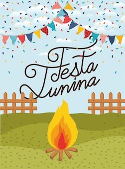 Festa junina avec clôture et feu de camp