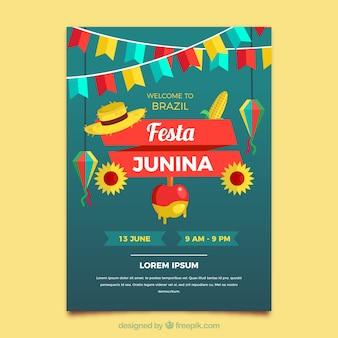 Festa junina flyer dans le style plat