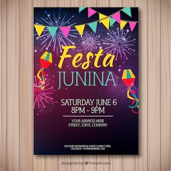 Festa junina flyer avec des feux d'artifice colorés