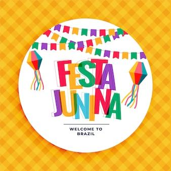 Festa junina fond coloré avec des guirlandes