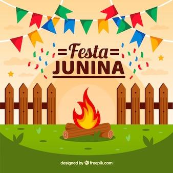 Festa junina fond dans un style plat