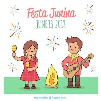 Festa junina fond avec des enfants qui jouent