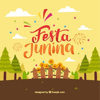 Festa junina fond avec des forêts et des plantes