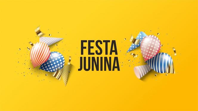 festa junina illustration avec des ballons 3d avec des chapeaux d'anniversaire 3d.