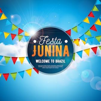 Festa junina illustration avec drapeaux de la fête et ciel nuageux bleu