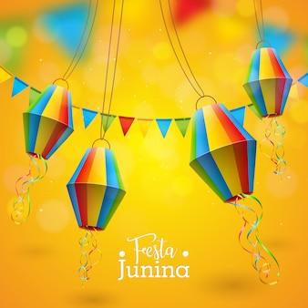 Festa junina illustration avec drapeaux de fête et lanterne en papier sur fond jaune.