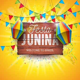 Festa junina illustration avec drapeaux de fête et lanterne en papier