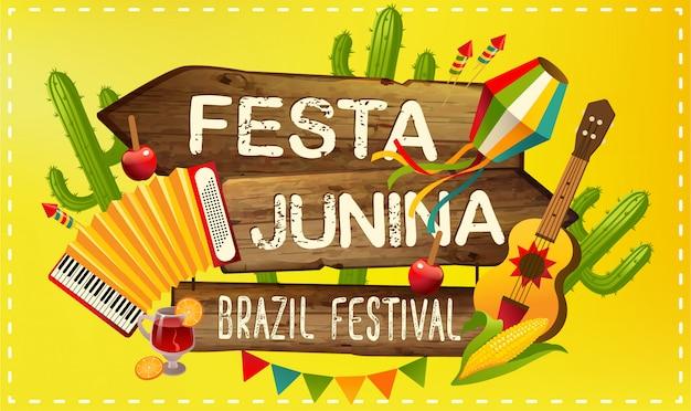 Festa junina illustration traditionnelle fête du brésil juin. vacances en amérique latine.