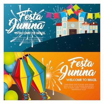 Festa junina infographie avec paysage de ville et lanternes vector illustration
