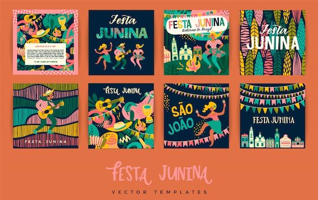 Festa junina. modèles de vecteur.