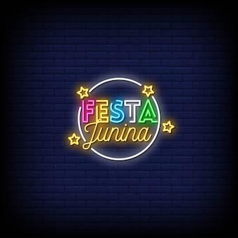 Festa junina neon signs style texte