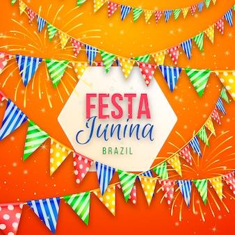 Festa junina réaliste avec des guirlandes colorées