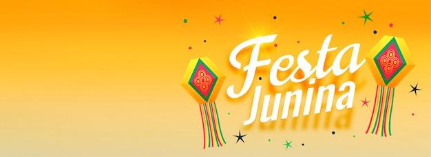 Festa junina super design de bannière de célébration