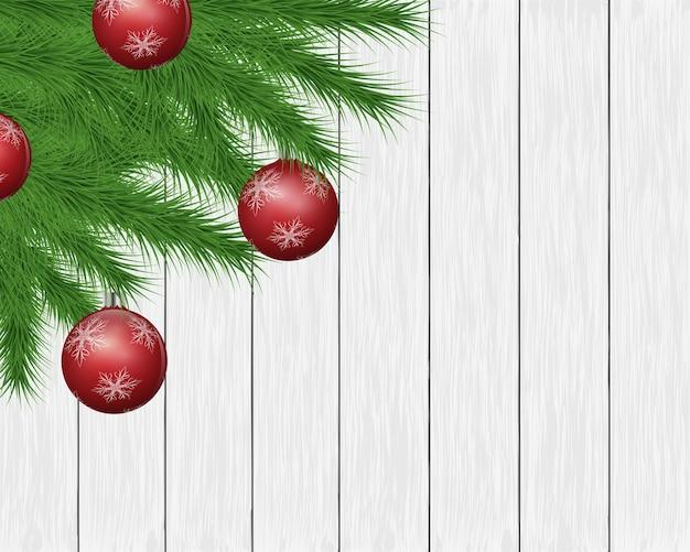 Festif fond avec décoration sur des planches de bois.