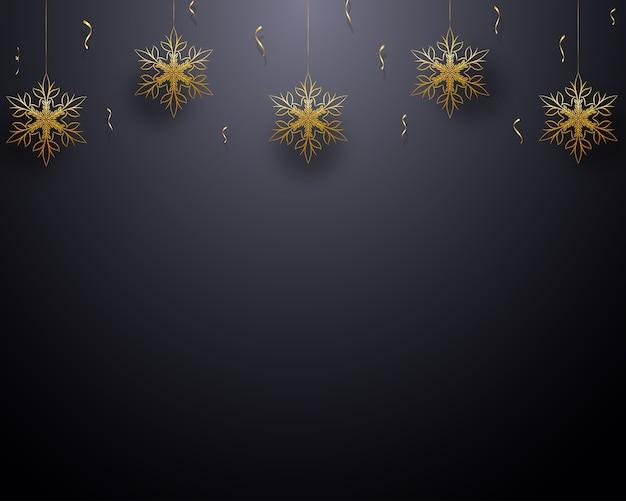 Festif fond avec des flocons de neige dorés, confettis.