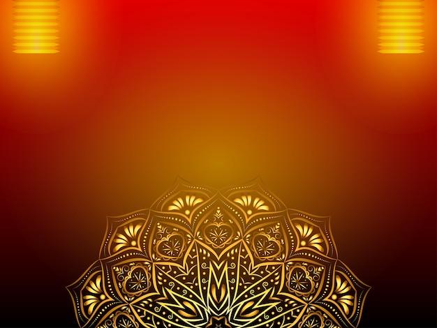 Festif fond avec mandala doré, lanterne.