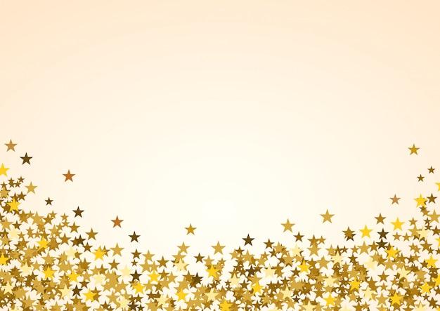 Festif fond de noël horizontal avec fond. étoiles d'or sur blanc