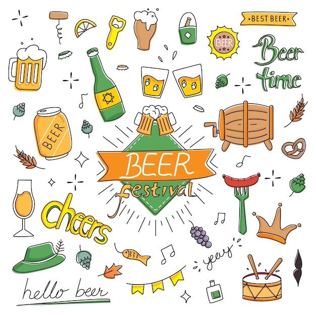 Festival de la bière dans le style de doodle dessinés à la main