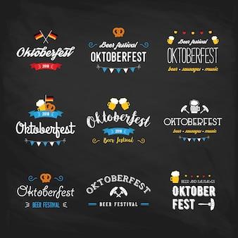 Festival de la bière oktoberfest lettrage typographie set célébration design typographique rétro