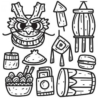 Festival chinois doodle dessin à la main