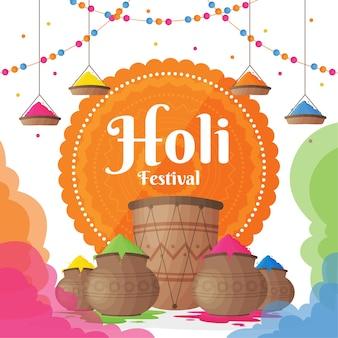 Festival coloré de holi gulal plat