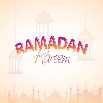 Festival de la communauté musulmane, fond du ramadan kareem avec des lanternes suspendues et une décoration mosquée.