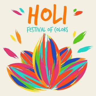 Festival de couleurs holi dessiné à la main