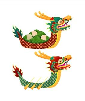 Festival de course de bateau dragon chinois avec des boulettes de riz, conception de personnage mignon carte de voeux isolée du festival de bateau dragon heureux illustration isolée.