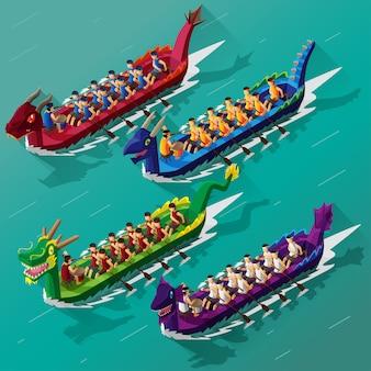 Festival de course de bateaux-dragons vue isométrique