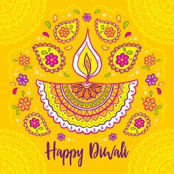 Festival de diwali design dessiné à la main