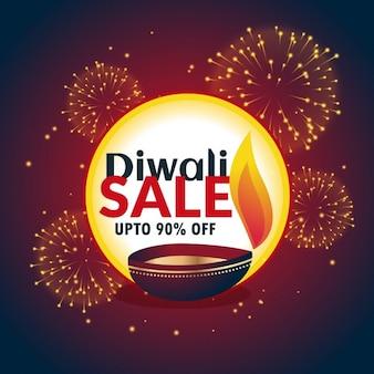 Festival diwali vente bannière avec feux d'artifice et belle diya