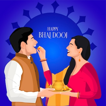 Festival du vecteur bhai dooj brother sister