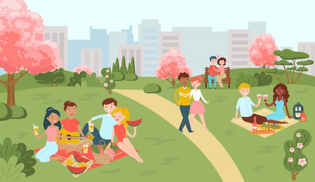 Festival hanami sakura, personnes en pique-nique dans le parc des arbres en fleurs au printemps, loisirs dans l'illustration de dessin animé plat du parc.