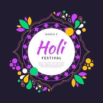 Festival holi au design plat