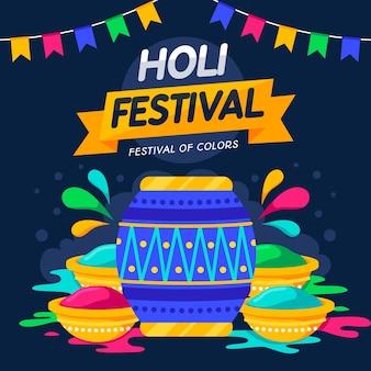 Festival de holi design plat coloré avec lettrage