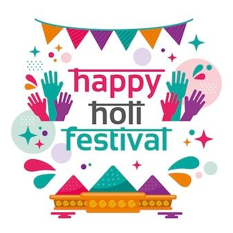 Festival de holi design plat illustré