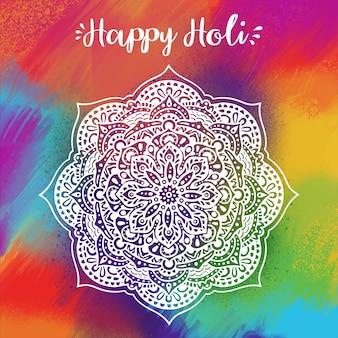 Festival de holi dessiné à la main beau design et fond coloré