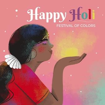 Festival de holi dessiné à la main avec de la poussière colorée