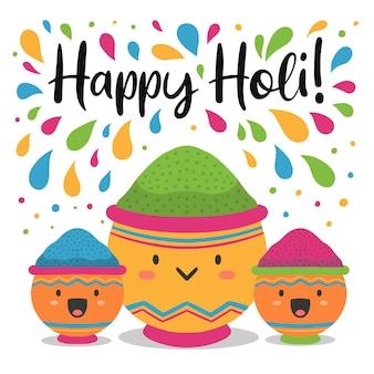 Festival de holi dessiné à la main et visages heureux