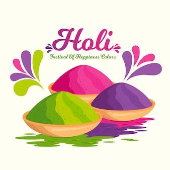 Festival de holi avec gulal coloré