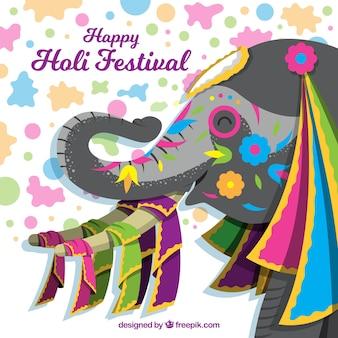Festival de holi joyeux fond plat avec un éléphant
