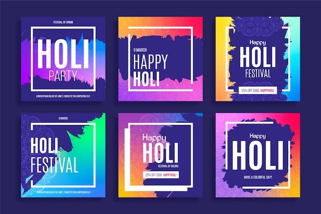 Festival holi des médias sociaux avec des cadres colorés
