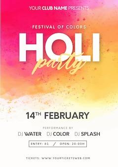 Festival de holi moderne des couleurs avec fond splash