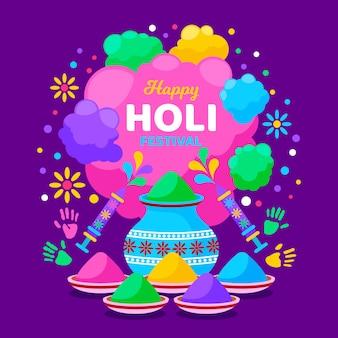 Festival de holi plat avec feux d'artifice colorés