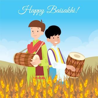 Festival indien de baisakhi avec des enfants dans les champs