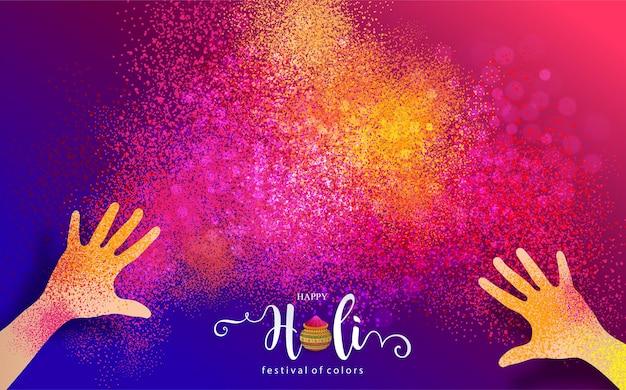 Festival indien de couleur poudre gulaal coloré pour carte happy holi avec motifs dorés et cristaux sur papier couleur