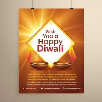 Festival indien de diwali heureux carte de voeux flyer template