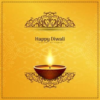 Festival indien happy diwali artistique jaune