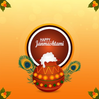 Festival indien joyeux fond de célébration krishna janmashtami