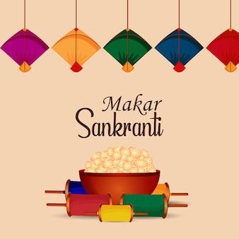 Festival indien makar sankranti avec tambour créatif et beaux cerfs-volants